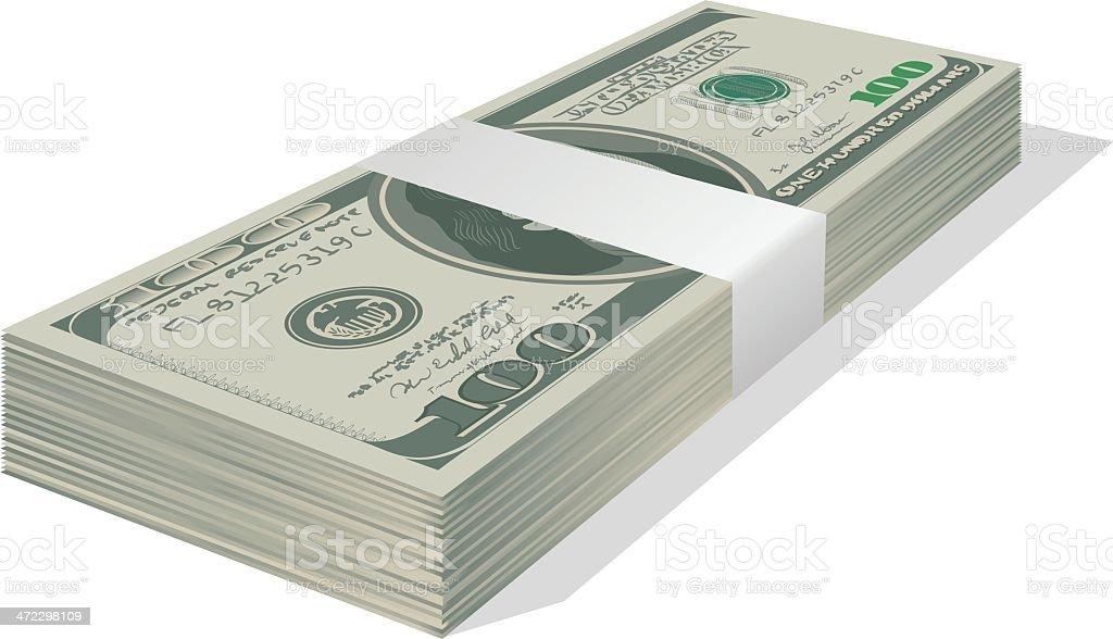 Stacked $100 Bills vector art illustration