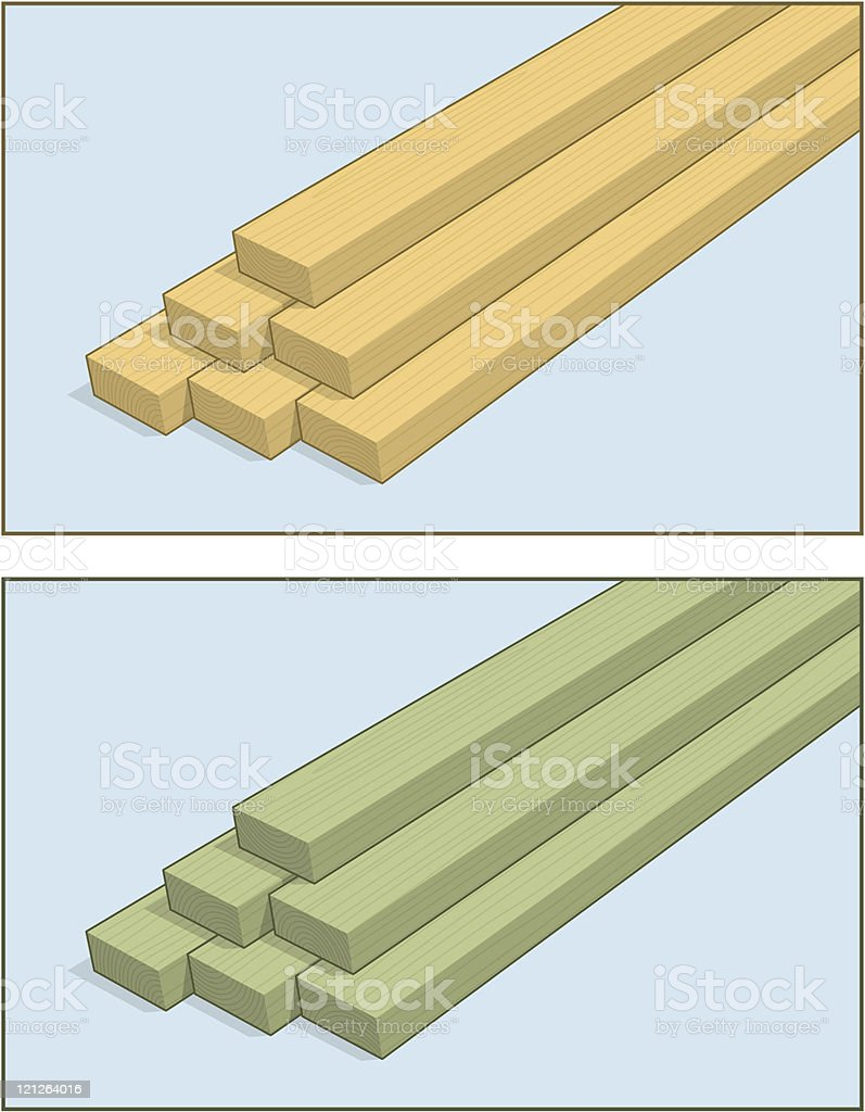 Stacked 2x4 Lumber royalty-free stock vector art