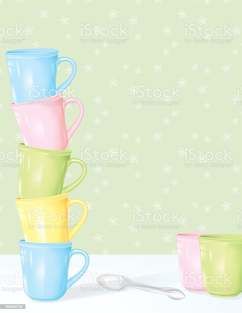 Stacked Coffee Cups With Copy Space vector art illustration