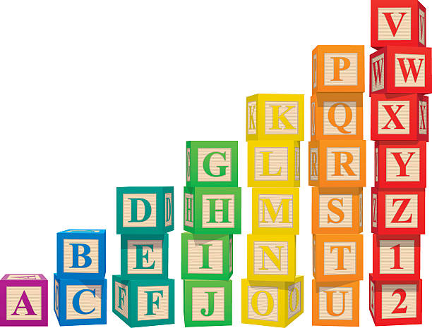 stacked colorful alphabet blocks - lego stock illustrations