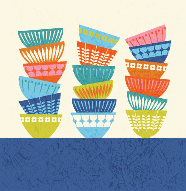 stacked colorful kitchen bowls with mid century modern designs. - mixing bowl stock illustrations, clip art, cartoons, & icons