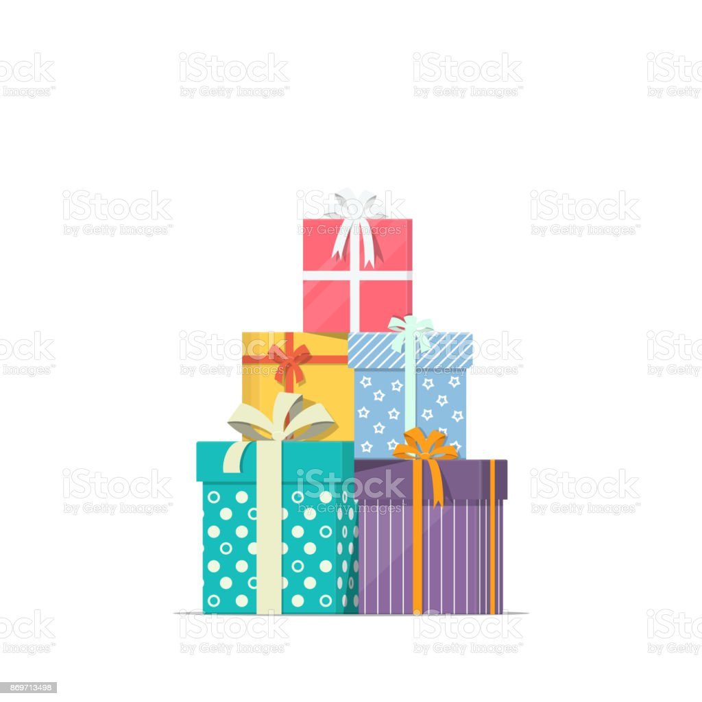 Stacked gift boxes in flat style. Concept design of holiday discount sale. Pile of presents icon. - Grafika wektorowa royalty-free (Badacz rynku)