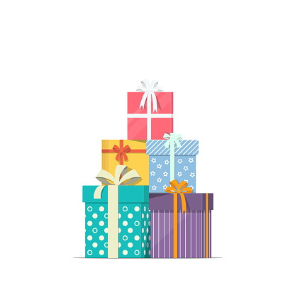 Stacked Gift Boxes In Flat Style Concept Design Of Holiday Discount Sale Pile Of Presents Icon - Stockowe grafiki wektorowe i więcej obrazów Badacz rynku