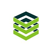 istock Stacked Green Boxes Storage Data Illustration Design. Vector EPS 10. 1192301333