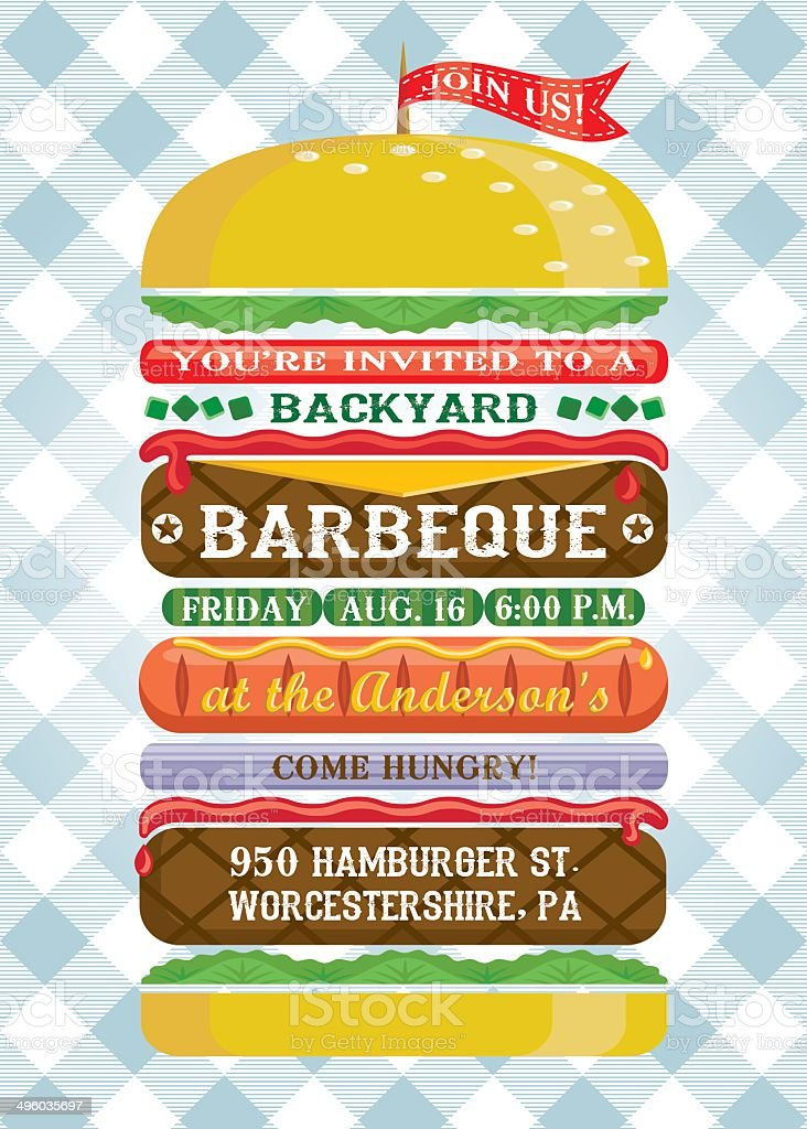 Hamburger bottier Invitation barbecue - Illustration vectorielle