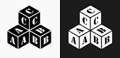 Stacked Letter Blocks Icon on Black and White Vector Backgrounds. This vector illustration includes two variations of the icon one in black on a light background on the left and another version in white on a dark background positioned on the right. The vector icon is simple yet elegant and can be used in a variety of ways including website or mobile application icon. This royalty free image is 100% vector based and all design elements can be scaled to any size.