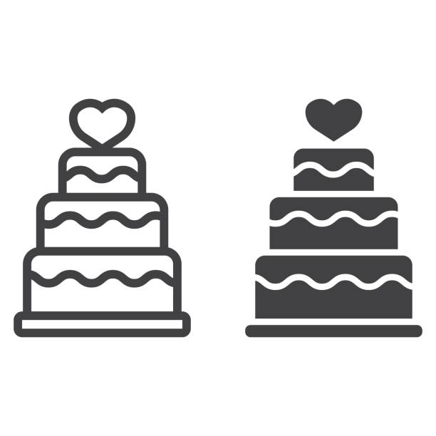 Stacked love cake line and glyph icon, valentines day and romantic, wedding cake sign vector graphics, a linear pattern on a white background, eps 10. Stacked love cake line and glyph icon, valentines day and romantic, wedding cake sign vector graphics, a linear pattern on a white background, eps 10. cake icons stock illustrations