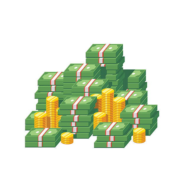 Stacked packs of dollar bills and gold coins vector art illustration