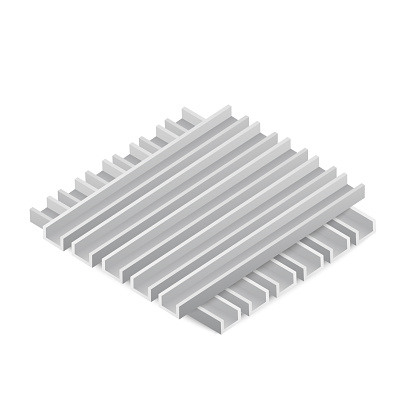 Stacked steel construction beams a vector realistic 3d isolated illustration.