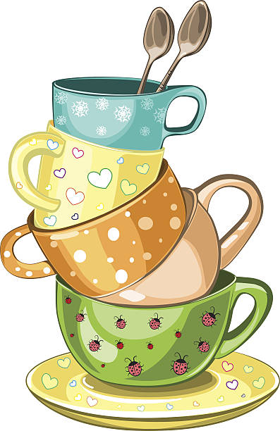 stacked tea cups - stacked tea cups stock illustrations, clip art, cartoons, & icons