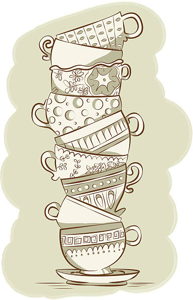 stacked teacups - stacked tea cups stock illustrations, clip art, cartoons, & icons