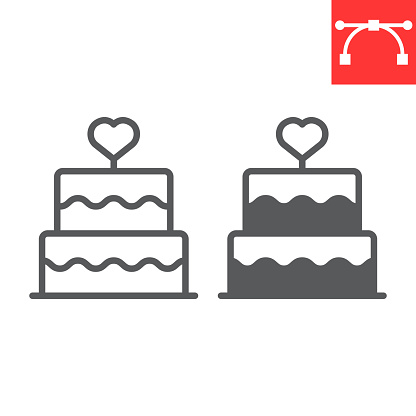 Stacked wedding cake with heart line and glyph icon, dessert and bakery, love cake vector icon, vector graphics, editable stroke outline sign, eps 10.