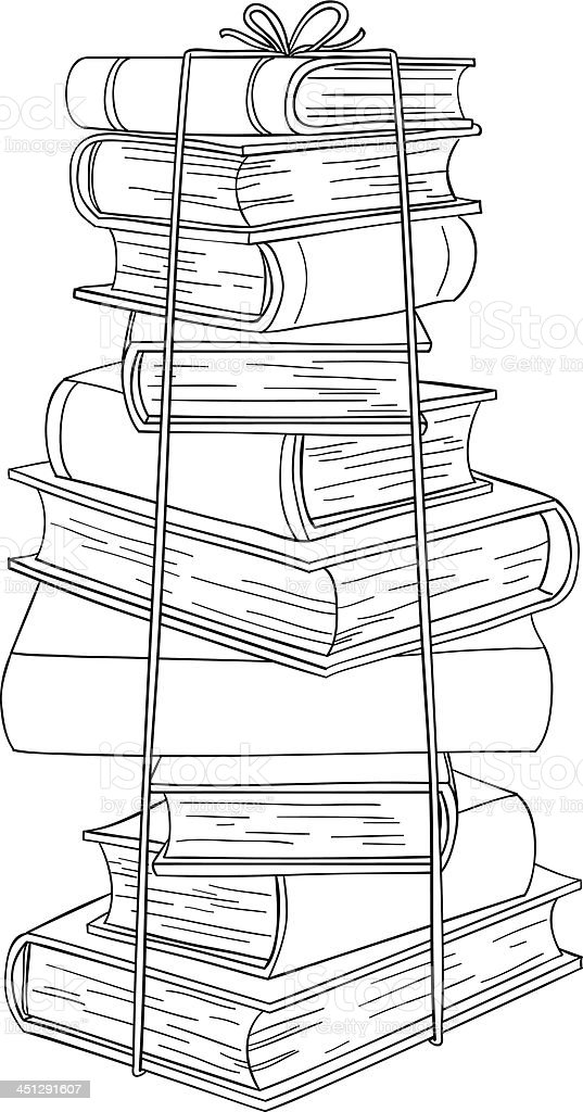 Stacking books in black and white royalty-free stock vector art