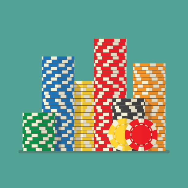Stacks colorful poker chips vector art illustration