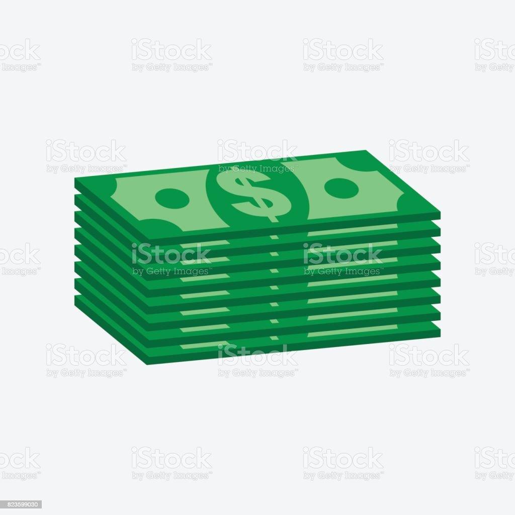 Stacks dollar cash. Vector illustration in flat design on white background vector art illustration