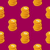 Stacks of cent bucks gold coins vector seamless pattern Isometric golden us money chips on purple background eps10