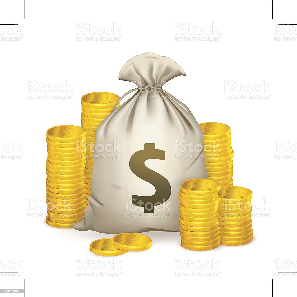 Stacks of coins and money bag vector art illustration