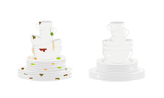 Stacks of dirty and clean dishes isolated on white background. Plates, bowls and cups before and after washing. Vector flat illustration