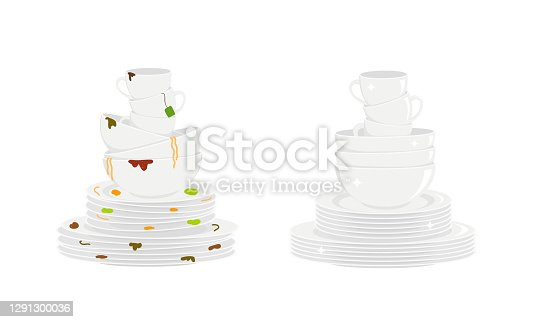 istock Stacks of dirty and clean dishes 1291300036