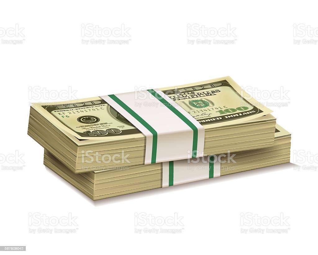 Stacks of dollar bill. vector art illustration