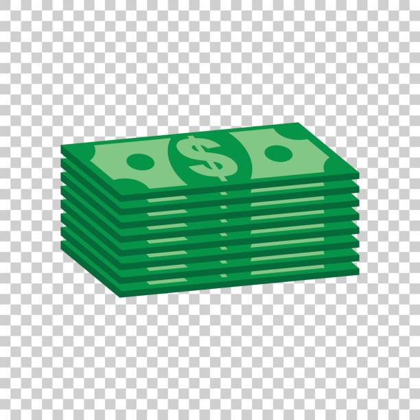 Stacks of dollar cash. Vector illustration in flat design on isolated background vector art illustration