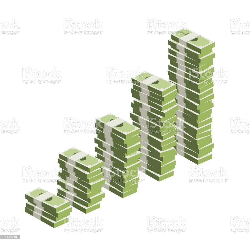 Stacks of money vector art illustration