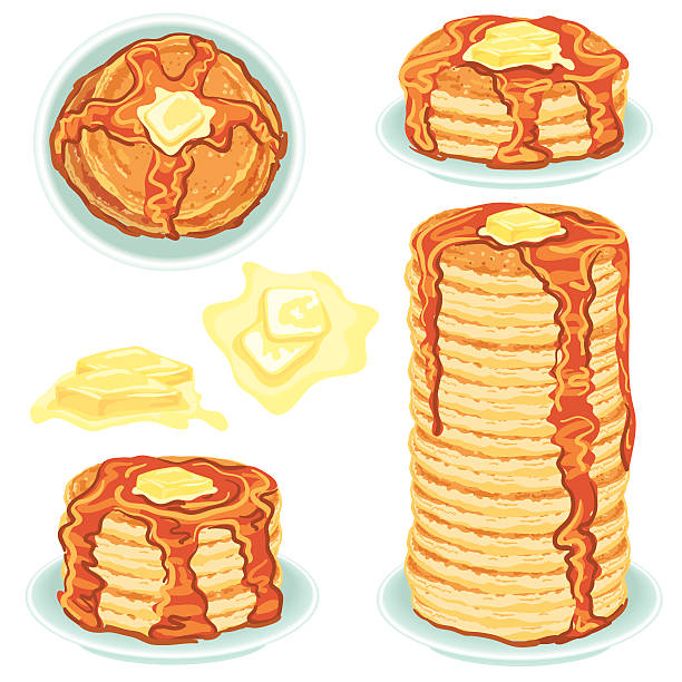 stockillustraties, clipart, cartoons en iconen met stacks of pancakes with butter and syrup - boter