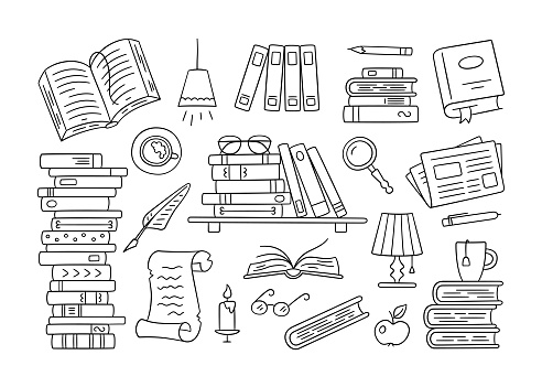 Stacks of paper books, home library, bookshelf in doodle style. Hand drawn set of object to read