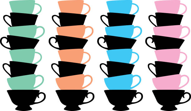 stacks of teacups - stacked tea cups stock illustrations, clip art, cartoons, & icons