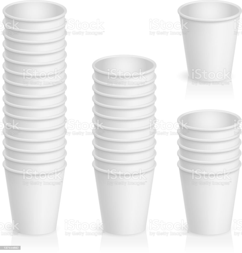 Stacks of white disposable paper cups vector art illustration