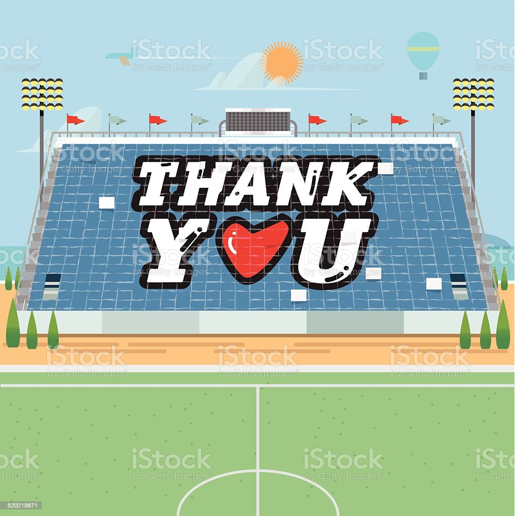 stadium card stunts. thank you - vector illustration vector art illustration