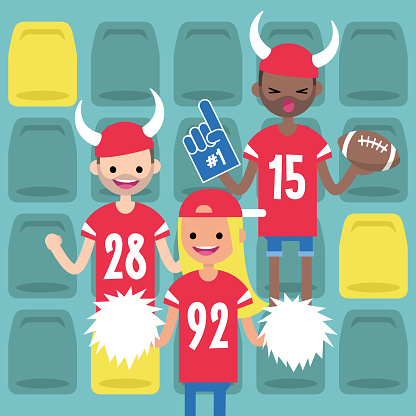 Stadium crowd. Interracial characters wearing american football uniforms, horned hats and foam fingers. Fans supporting their team / flat editable vector illustration, clip art