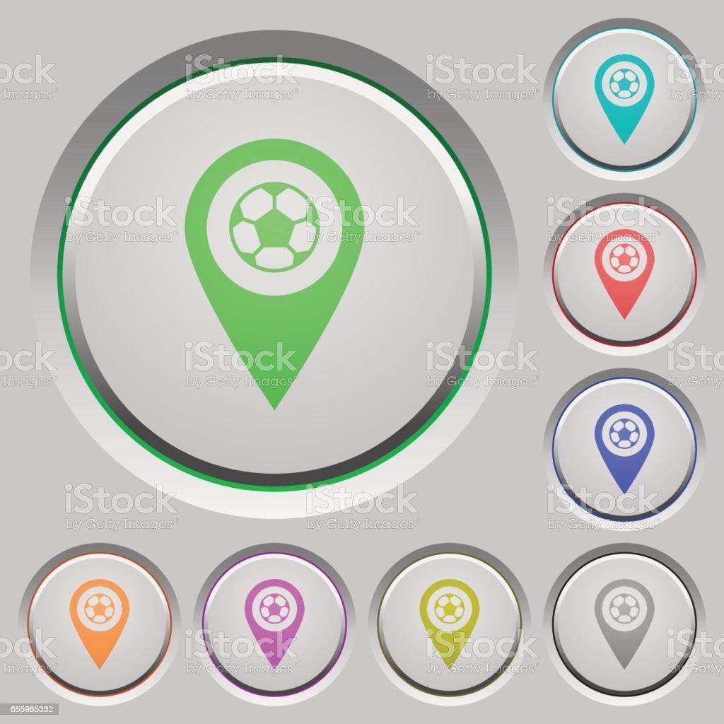 Botões de ação do estádio GPS mapa localização - ilustração de arte em vetor