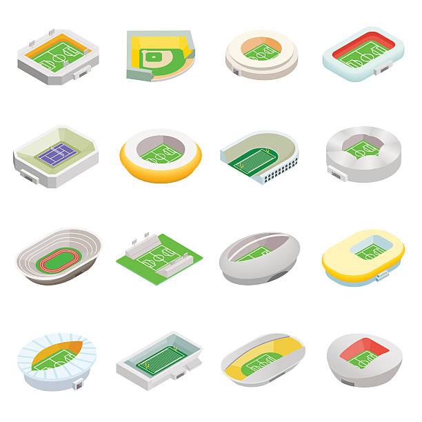 stadium isometric 3d icons - baseball stadium stock illustrations, clip art, cartoons, & icons