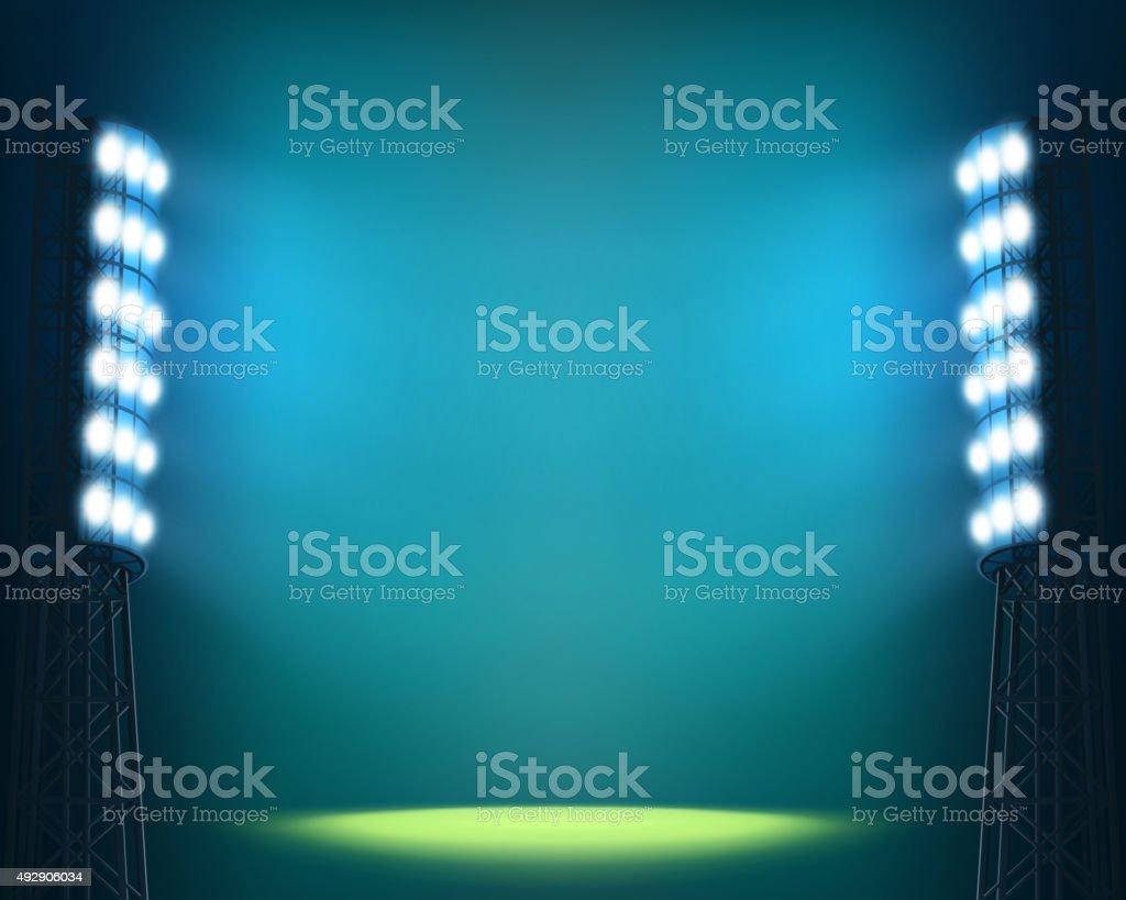 Stadium lights against dark Night sky background vector art illustration