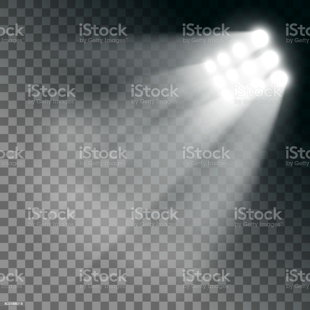 Stadium lights effect on a transparent background. vector art illustration
