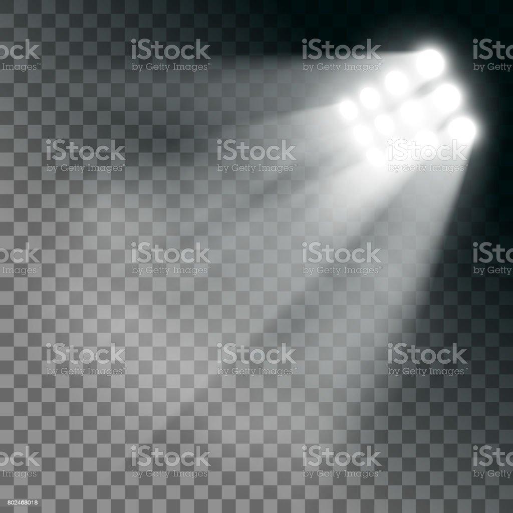 Efecto de luces de estadio sobre un fondo transparente. - ilustración de arte vectorial