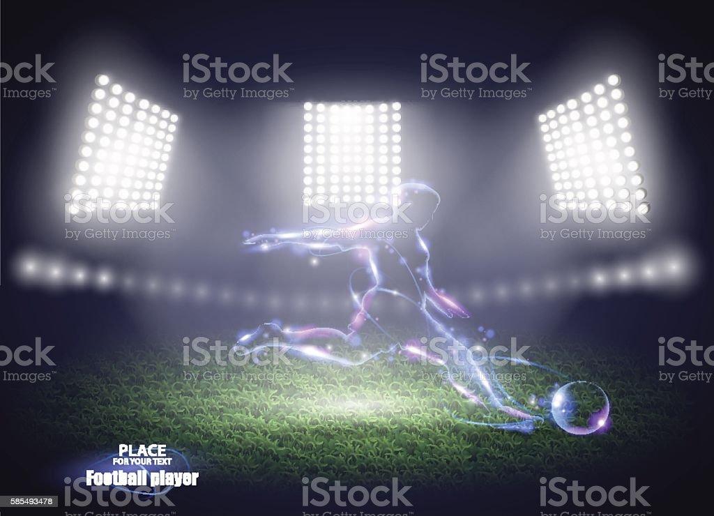 Stadium lights. Motion design. Football player, kick a ball. Vector vector art illustration
