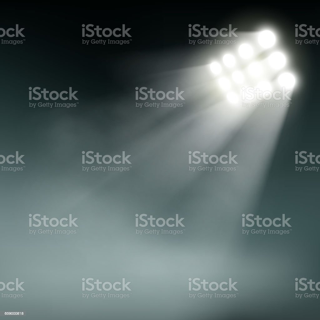 Stadium lights on a dark background. vector art illustration