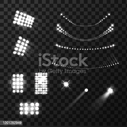 Stadium lights lamps and beams realistic black white set isolated vector illustration