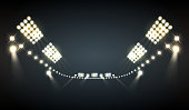 Stadium floodlights realistic background with bright lights symbols vector illustration