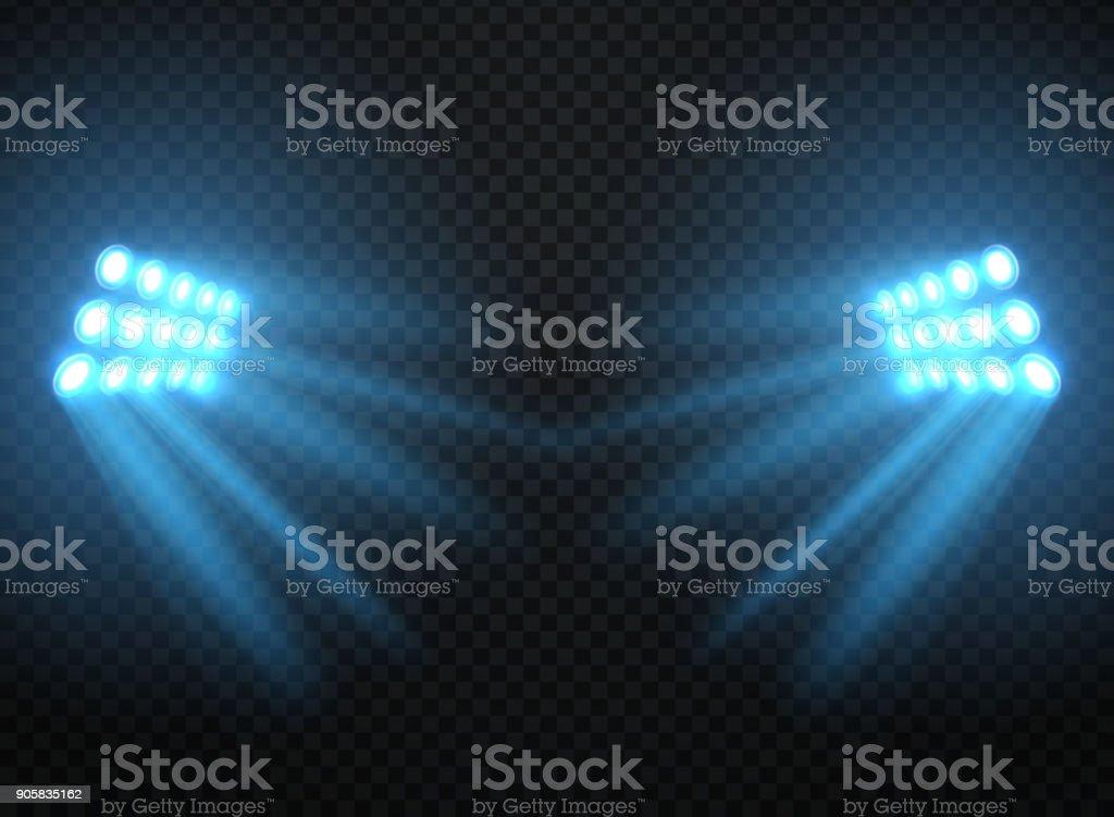 Stadium lights, shiny projectors isolated. Vector spotlight template vector art illustration