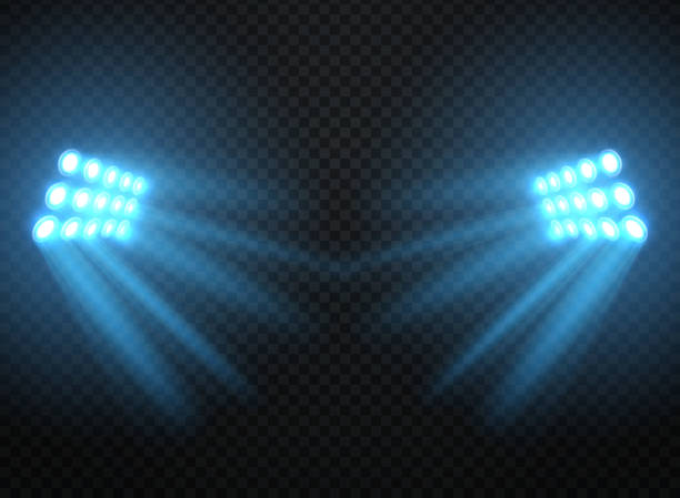 Stadium lights, shiny projectors isolated. Vector spotlight template Stadium lights, shiny projectors isolated. Vector spotlight template. Lighti projector illuminated for concert and game illustration stadium stock illustrations