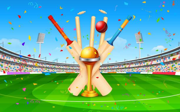 ilustraciones, imágenes clip art, dibujos animados e iconos de stock de estadio de críquet con el bat, bola y trophy - críquet