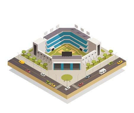 stadium sport arena isometric composition