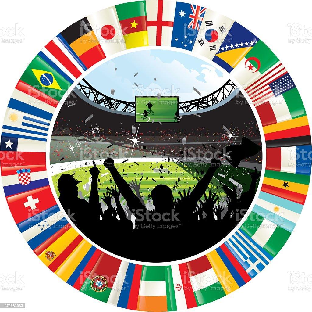 Estadio rodeada de anillo de banderas de campeonato mundial de fútbol 2014 - ilustración de arte vectorial