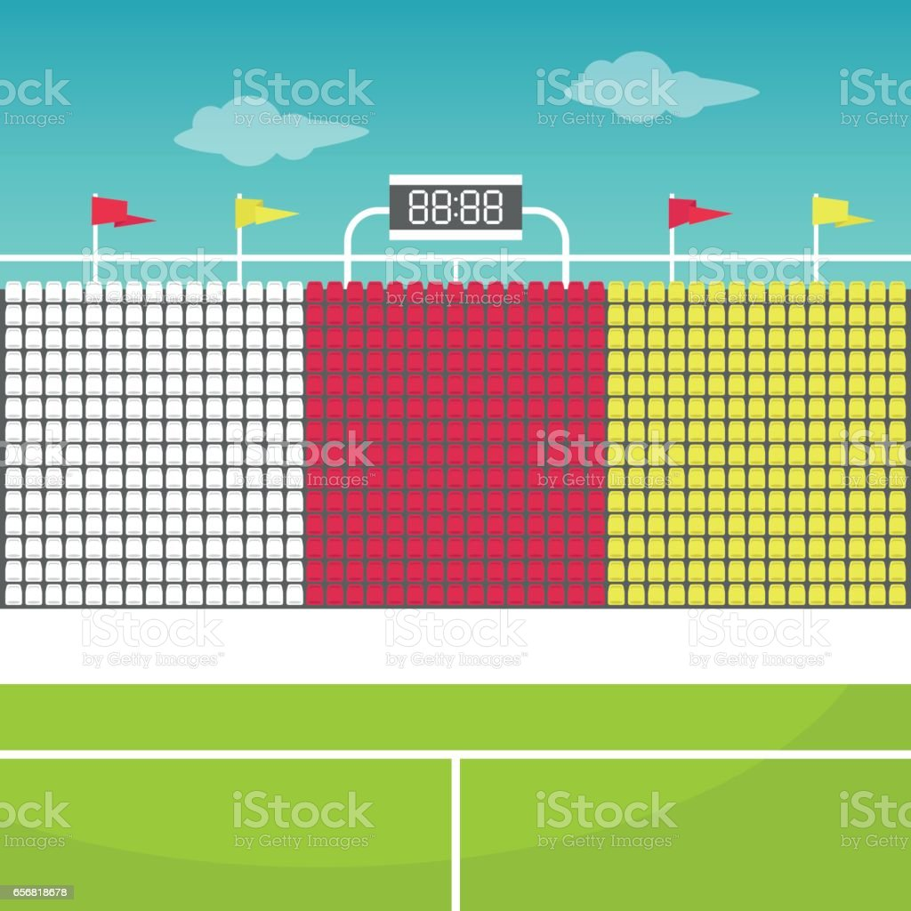 Stadium tribune with flags and scoreboard vector art illustration
