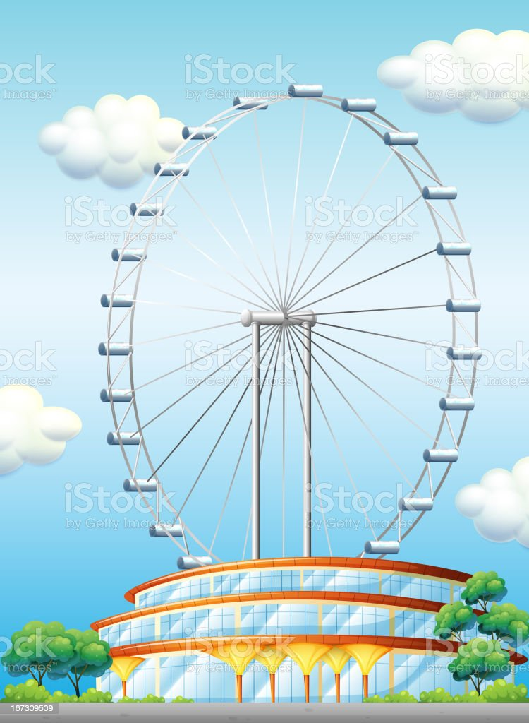 Stadium with a big ferris wheel royalty-free stock vector art