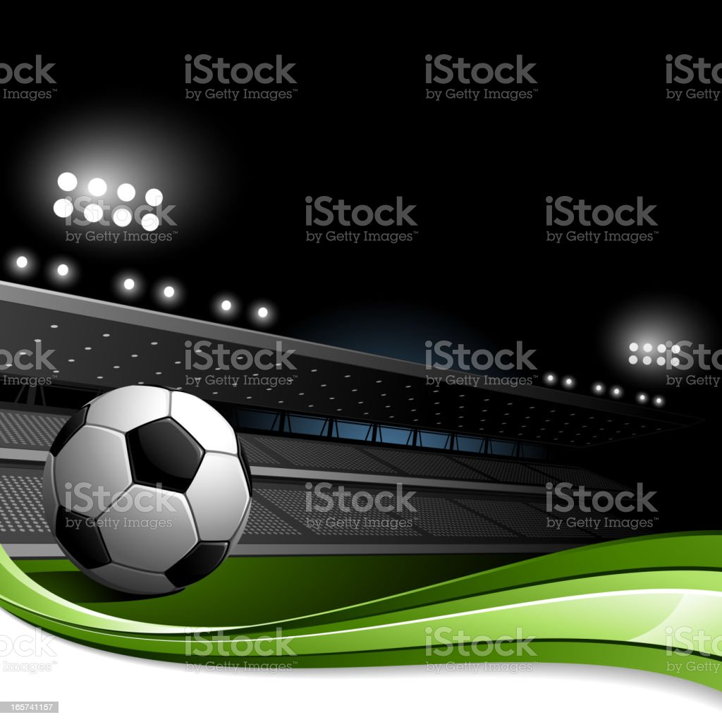 Stadium with Close-up of Soccer Ball vector art illustration