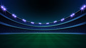 stadium with illumination, green grass and night sky. vector illustration